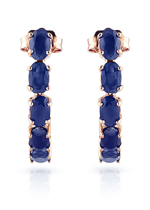 Sapphire Linear Stud Earrings 2.5ctw in 9ct Rose Gold