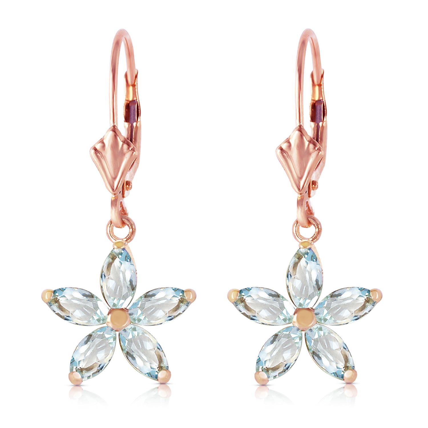 Aquamarine Flower Star Drop Earrings 2.8ctw in 9ct Rose Gold