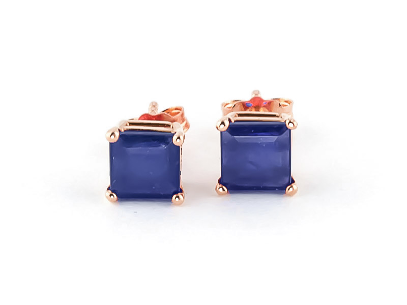 Sapphire Stud Earrings 2.9ctw in 9ct Rose Gold