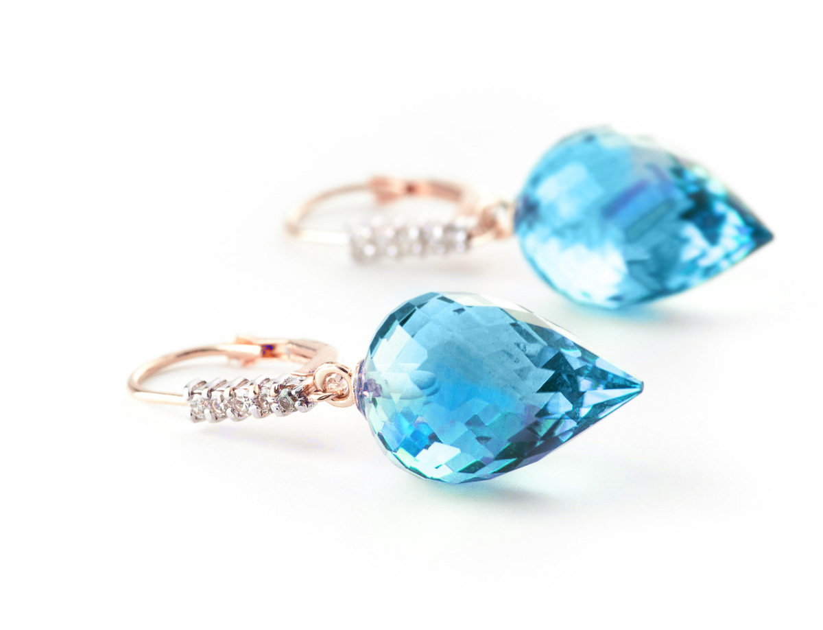 Blue Topaz and Diamond Drop Earrings 22.5ctw in 9ct Rose Gold