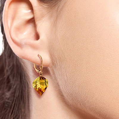 Citrine Briolette Drop Earrings 23.5ctw in 9ct Rose Gold