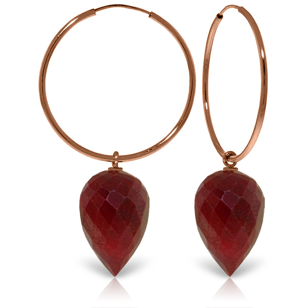 Ruby Briolette Hoop Earrings 26.1ctw in 9ct Rose Gold