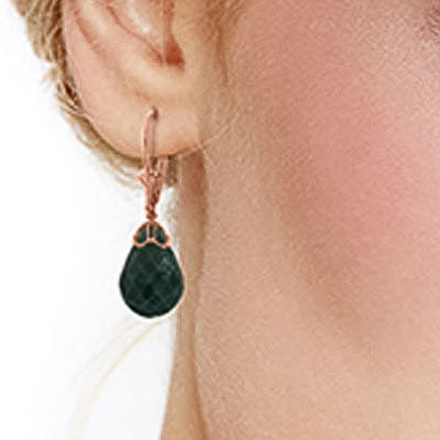 Emerald Crown Briolette Drop Earrings 29.6ctw in 9ct Rose Gold