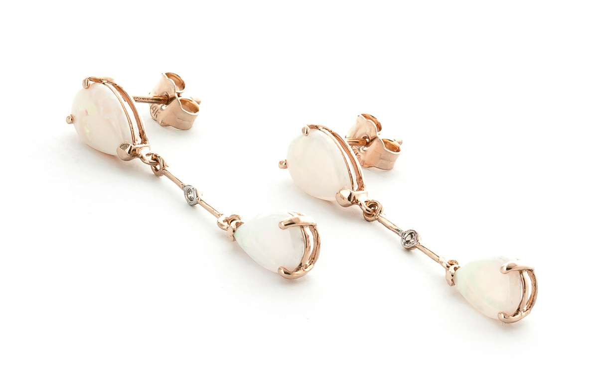 Opal and Diamond Drop Earrings 3.0ctw in 9ct Rose Gold