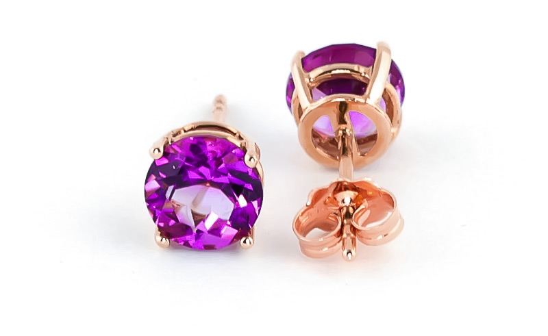 Pink Topaz Stud Earrings 3.1ctw in 9ct Rose Gold