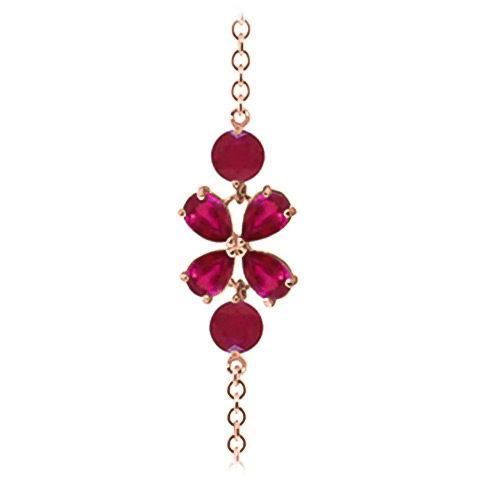 Pear Cut Ruby Adjustable Bracelet 3.15ctw in 9ct Rose Gold