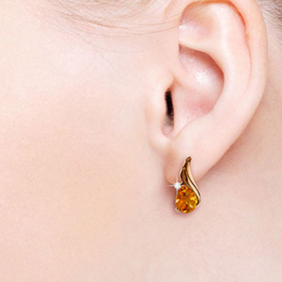 Citrine and Diamond Stud Earrings 3.2ctw in 9ct Rose Gold