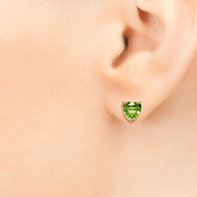 Peridot Heart Stud Earrings 3.25ctw in 9ct Rose Gold