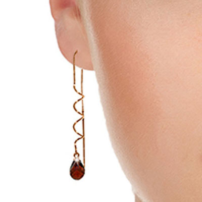Garnet Spiral Scintilla Briolette Earrings 3.3ctw in 9ct Rose Gold