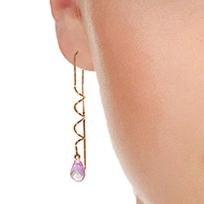 Pink Topaz Spiral Scintilla Briolette Earrings 3.3ctw in 9ct Rose Gold