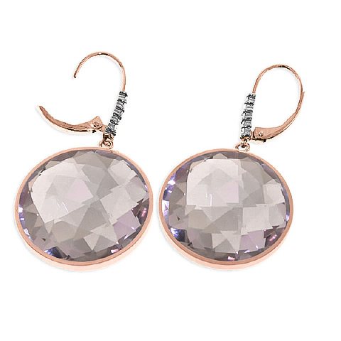 Amethyst and Diamond Drop Earrings 36.0ctw in 9ct Rose Gold