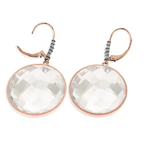 White Topaz and Diamond Drop Earrings 36.0ctw in 9ct Rose Gold