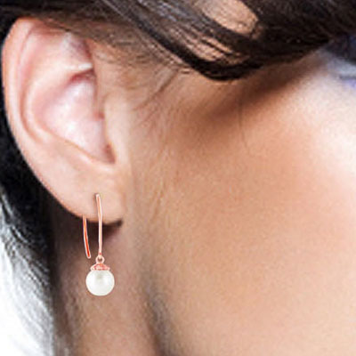 Pearl Eclipse Circle Wire Earrings 4.0ctw in 9ct Rose Gold