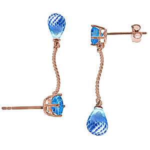 Blue Topaz Lure Drop Earrings 4.3ctw in 9ct Rose Gold