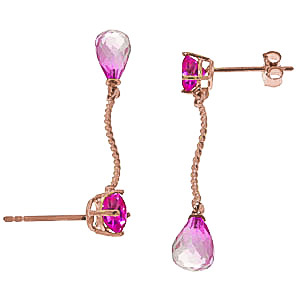 Pink Topaz Lure Drop Earrings 4.3ctw in 9ct Rose Gold