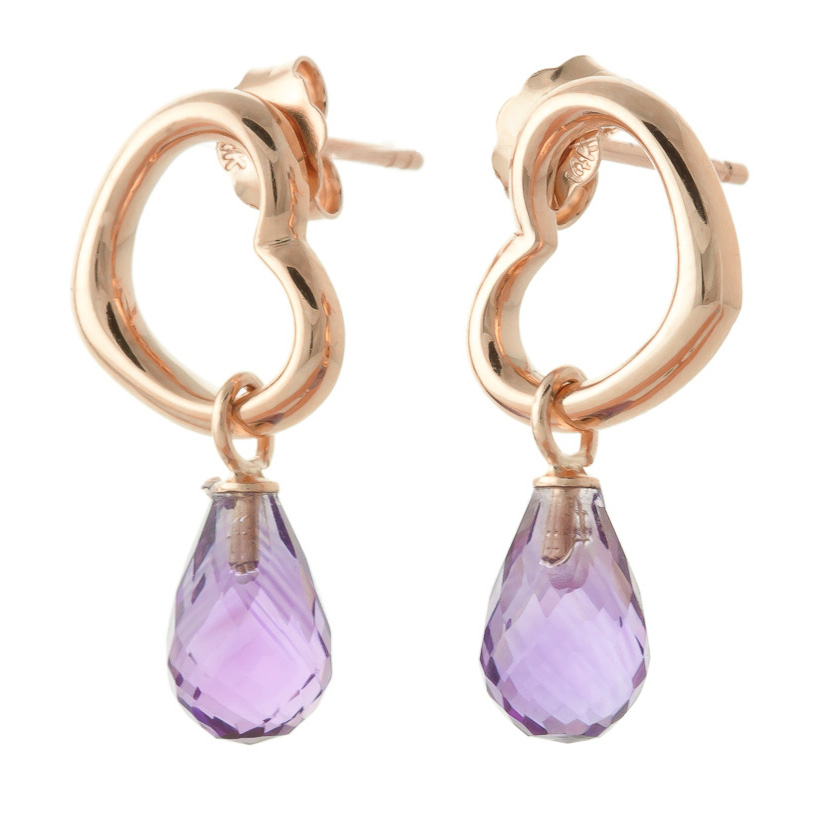 Amethyst Stud Earrings 4.5ctw in 9ct Rose Gold