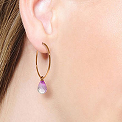 Pink Topaz Briolette Earrings 4.5ctw in 9ct Rose Gold