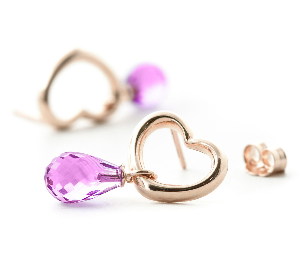Pink Topaz Stud Earrings 4.5ctw in 9ct Rose Gold