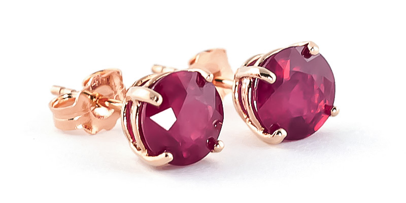 Ruby Stud Earrings 3.5ctw in 9ct Rose Gold