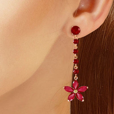 Ruby Daisy Chain Drop Earrings 4.8ctw in 9ct Rose Gold