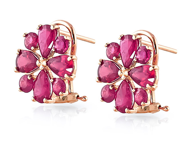 Ruby Sunflower Stud Earrings 4.85ctw in 9ct Rose Gold