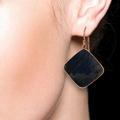 Sapphire Drop Earrings 43.5ctw in 9ct Rose Gold