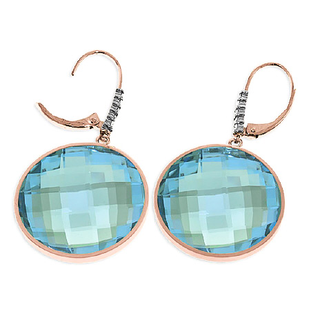 Blue Topaz and Diamond Drop Earrings 46.0ctw in 9ct Rose Gold