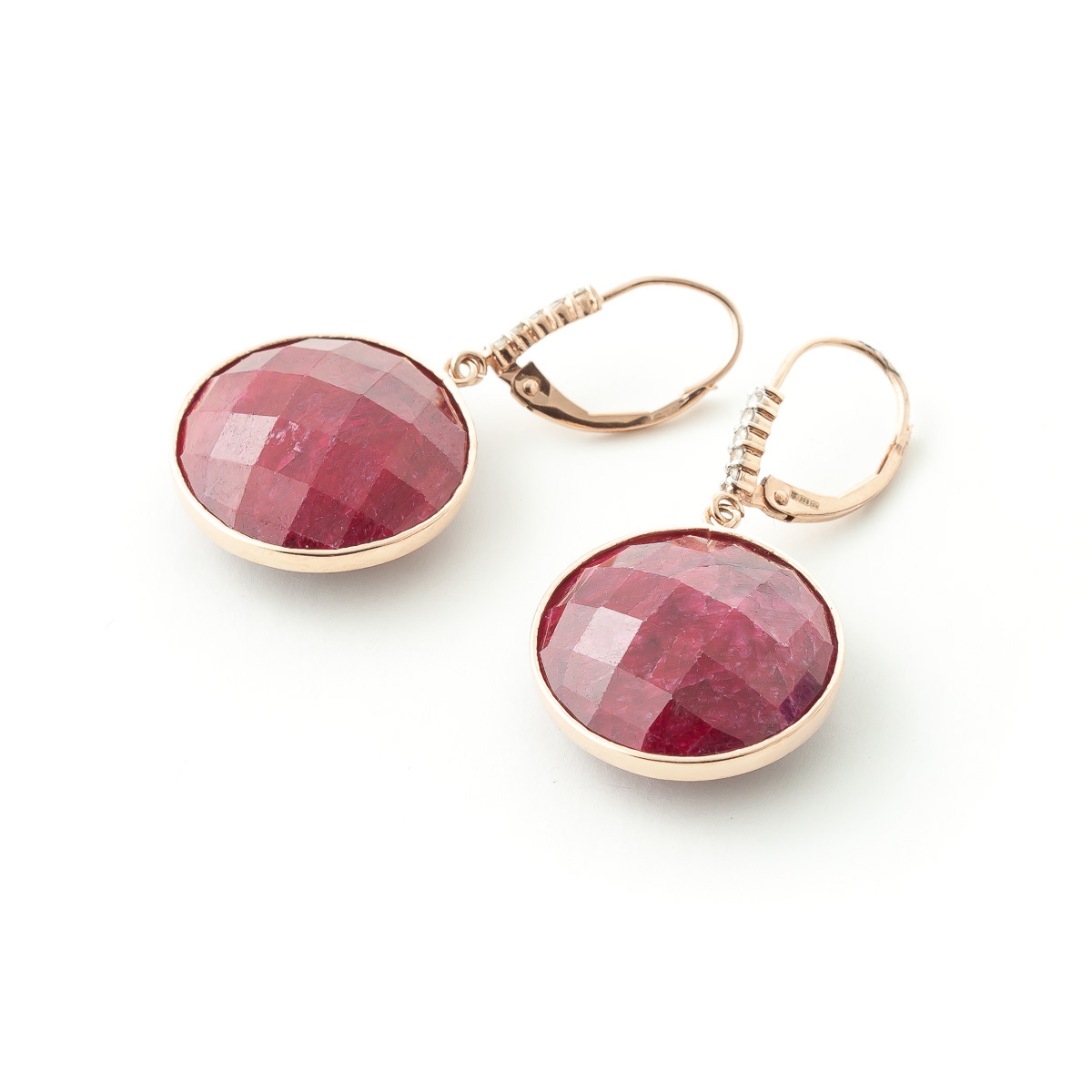 Ruby and Diamond Drop Earrings 46.0ctw in 9ct Rose Gold
