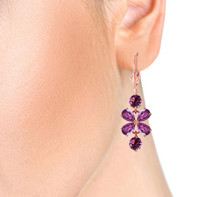 Amethyst Blossom Drop Earrings 5.32ctw in 9ct Rose Gold