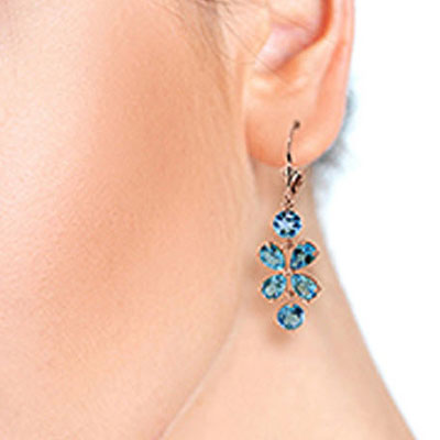 Blue Topaz Blossom Drop Earrings 5.32ctw in 9ct Rose Gold