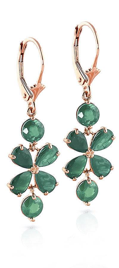 Emerald Blossom Drop Earrings 5.32ctw in 9ct Rose Gold