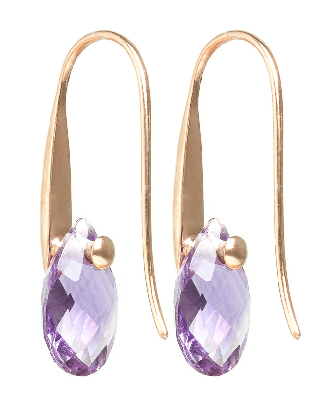 Amethyst Briolette Drop Earrings 6.0ctw in 9ct Rose Gold
