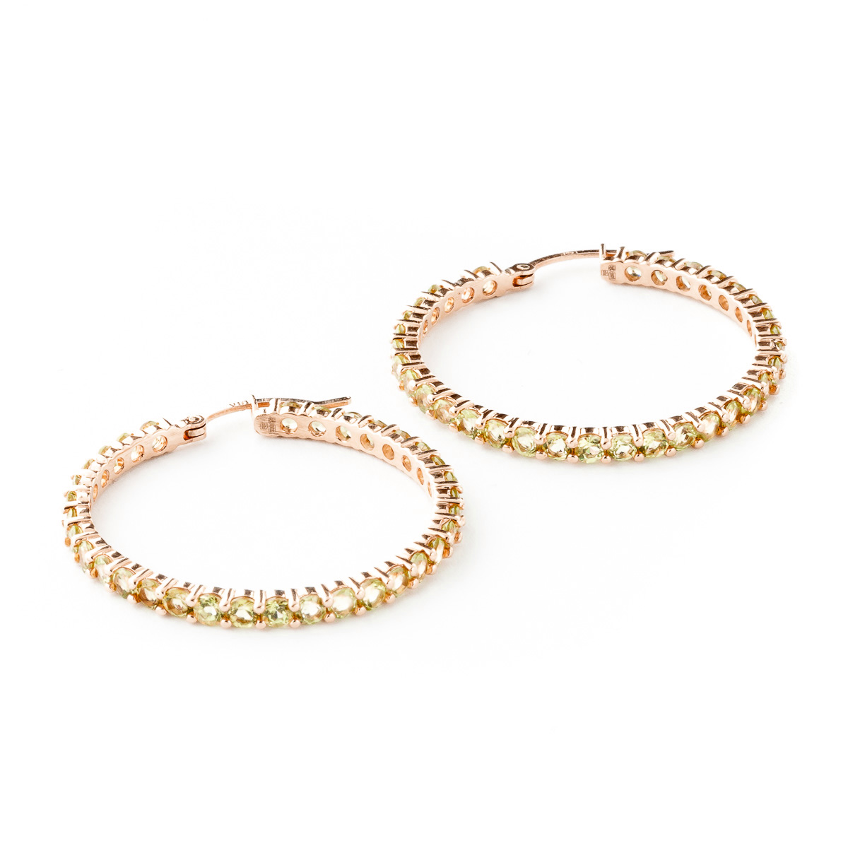 Peridot Metro Hoop Earrings 6.0ctw in 9ct Rose Gold