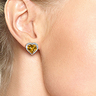 Citrine and Diamond French Clip Halo Earrings 6.2ctw in 9ct Rose Gold
