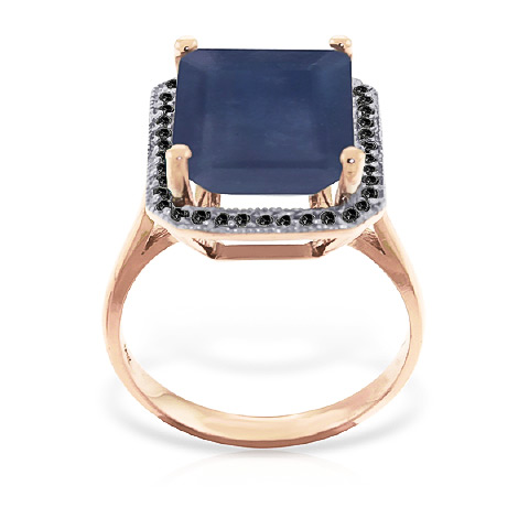 Sapphire and Diamond Halo Ring 6.4ct in 9ct Rose Gold