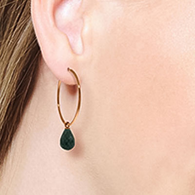Emerald Briolette Earrings 6.6ctw in 9ct Rose Gold
