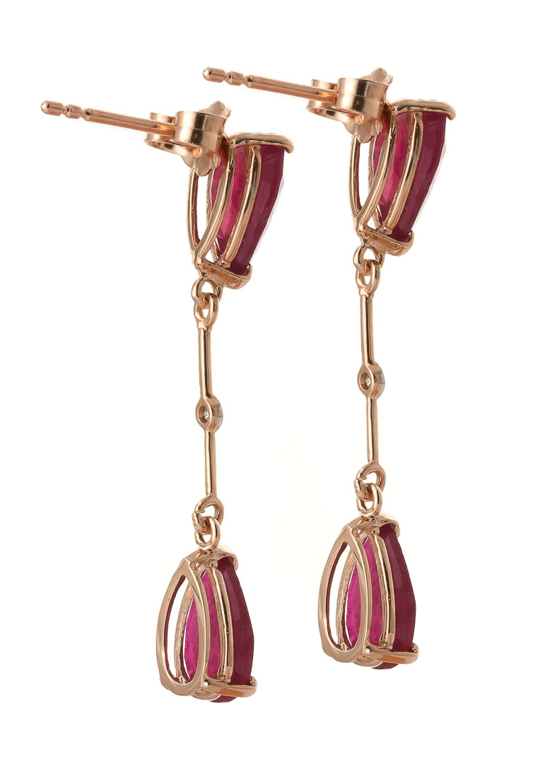 Ruby and Diamond Drop Earrings 7.0ctw in 9ct Rose Gold