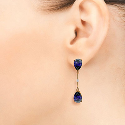 Sapphire and Diamond Drop Earrings 7.0ctw in 9ct Rose Gold