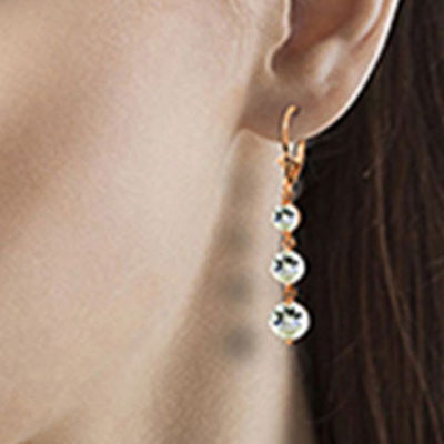 Aquamarine Trinity Drop Earrings 7.2ctw in 9ct Rose Gold