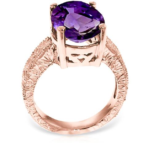 Oval Cut Amethyst Ring 7.5ctw in 9ct Rose Gold