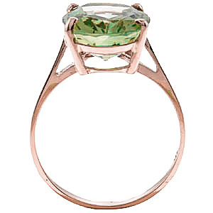 Oval Cut Green Amethyst Ring 7.55ct in 9ct Rose Gold