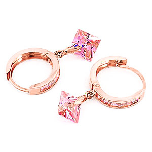 Cubic Zirconia Huggie Earrings 7.58ctw in 9ct Rose Gold
