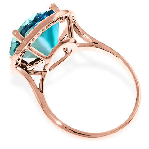 Blue Topaz and Diamond Halo Ring 7.8ct in 9ct Rose Gold