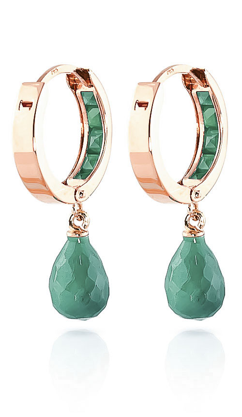 Emerald Droplet Huggie Earrings 7.8ctw in 9ct Rose Gold