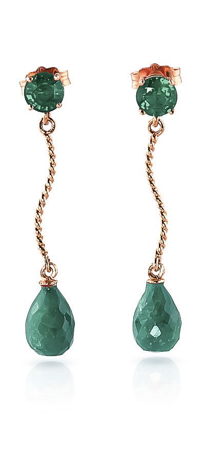 Emerald Lure Drop Earrings 7.9ctw in 9ct Rose Gold