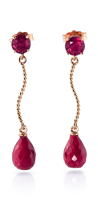 Ruby Lure Drop Earrings 7.9ctw in 9ct Rose Gold