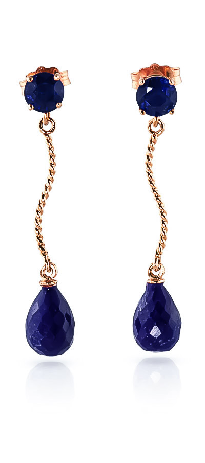 Sapphire Lure Drop Earrings 7.9ctw in 9ct Rose Gold