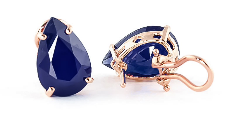 Sapphire Droplet Stud Earrings 9.3ctw in 9ct Rose Gold