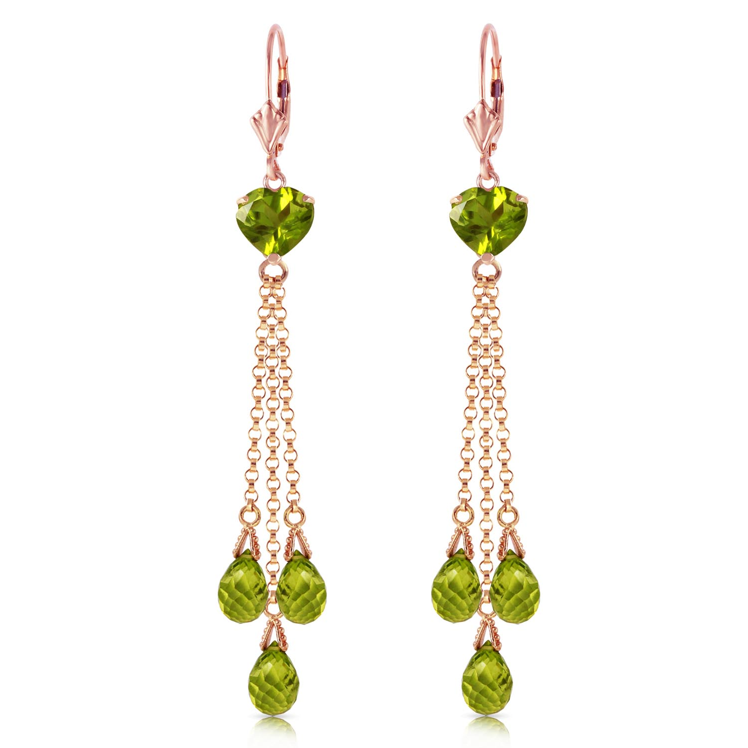 Peridot Vestige Heart Drop Earrings 9.5ctw in 9ct Rose Gold