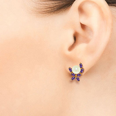 Pearl and Amethyst Ivy Stud Earrings 3.25ctw in 9ct Rose Gold